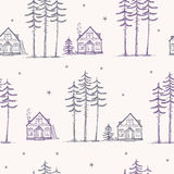 Seamless pattern pine house Stock Photography
