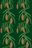Seamless pattern pine tree cones. Seamless pattern with a branch of pine tree and cones on dark green background Royalty Free Stock Photo