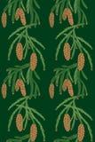 Seamless pattern pine tree cones Royalty Free Stock Photo