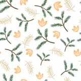 Seamless pattern pine twigs and flowers Royalty Free Stock Photography