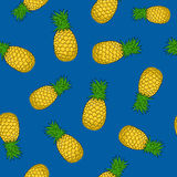Seamless Pattern ,Pineapple on Blue Background Royalty Free Stock Photo