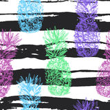 Seamless pattern with pineapple hand drawn in sketch style, isol stock illustration