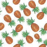 Seamless pattern with pineapple isolated on white background. Watercolor colourful illustration. Tropical fruit royalty free illustration