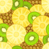 Seamless pattern with pineapple and kiwi. Vector illustration Stock Image