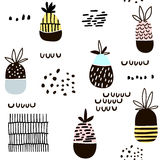 Seamless pattern with pineapple. Modern minimalistic texture with hand drawn shapes and exotic fruits. Great for fabric,textile. Stock Photography