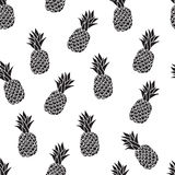 Seamless pattern from pineapples, the black-and-white drawing on a white background Royalty Free Stock Image