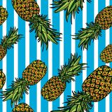 Seamless pattern with pineapples. Seamless pattern with pineapples and blue stripes on white background. Vector illustration Stock Photos