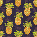 Seamless pattern with pineapples. Decorative background with yellow  pineapples Stock Image