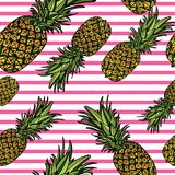 Seamless pattern with pineapples. Seamless pattern with pineapples and figs on pink background. Vector illustration Stock Image