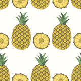 Seamless pattern of pineapples, fruit background Royalty Free Stock Photo