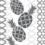 Seamless pattern with  pineapples and geometric designs. Stock Photos