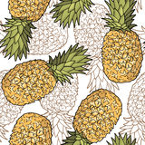 Seamless pattern with pineapples. Graphic stylized drawing. Royalty Free Stock Image