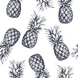 Seamless pattern with pineapples, hand drawn in graphic style. Vector illustration stock illustration