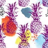 Seamless pattern with pineapples. Seamless pattern with hand drawn pineapples and watercolor strokes. Vector illustration. Perfect for invitations, greeting Royalty Free Stock Photos