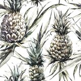 Seamless pattern with pineapples and leaves. Tropical summer watercolor illustration. Botanical texture in bronze shades. Monochrome nature design. Can be used royalty free illustration