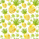 Seamless pattern of pineapples stock photos