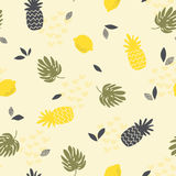 Seamless pattern with pineapples, lemons and monstera leaves Royalty Free Stock Images