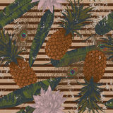 Seamless pattern with pineapples, lotuses, peacock feathers. Vector. Seamless pattern with pineapples, lotuses, peacock feathers. Vector Hand drawn Royalty Free Stock Images
