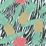 Seamless pattern with pineapples, lotuses, on zebra print. Vector. Seamless pattern with pineapples, lotuses. Vector Hand drawn Royalty Free Stock Photo