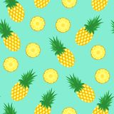 Seamless pattern with pineapples. Pineapple and slices. Of pineapple on blue background. Bright summer fruits illustration. Fruit design for fabric and decor stock illustration