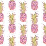 Seamless pattern with pineapples. Seamless pattern with pineapples on white background. Vector illustration Royalty Free Stock Image