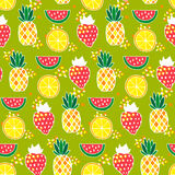 Seamless pattern with pineapples, strawberries, watermelons Stock Image