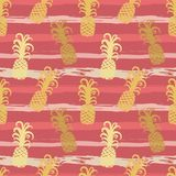 Seamless pattern with pineapples on stripes in grungy style.  stock illustration