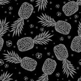 Seamless pattern with pineapples.  Vector illustration Stock Photos