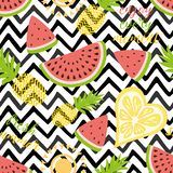 Seamless pattern with pineapples watermelon Bright summer fruits i background Fruit mix design for fabric and decor. Seamless pattern with yellow pineapples royalty free illustration