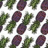 Seamless pattern with pineapples. Seamless pattern with pineapples on white background. Vector illustration Stock Images