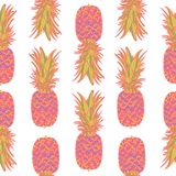 Seamless pattern with pineapples. Seamless pattern with pineapples on white background. Vector illustration Stock Image