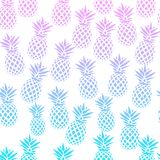 Seamless pattern with pineapples on a white background. Vector illustration. Exotic summer print. Colorful gradient fruit pattern. Cute tropical elements Stock Photos