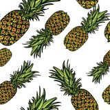 Seamless pattern with pineapples. Seamless pattern with pineapples on white background. Vector illustration Royalty Free Stock Images
