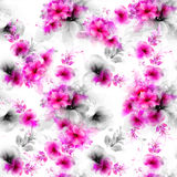 Seamless pattern with pink abstract flowers and decorative elements. Seamless pattern with pink and gray abstract flowers and decorative elements on white Stock Illustration