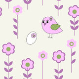 Seamless pattern with pink bird Royalty Free Stock Images