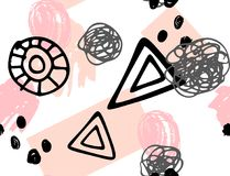 Seamless pattern with pink and black elements on white background. Scandinavian wallpaper pattern. Simple minimalistic geometric pattern with brush stroke. Hand Royalty Free Illustration