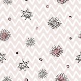 Seamless pattern with pink and black elements on Zigzag Paint Brush Strokes background. Scandinavian wallpaper pattern. Simple minimalistic geometric pattern Stock Illustration