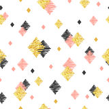 Seamless pattern with pink, black and golden glittering rhombuses. Stock Photography