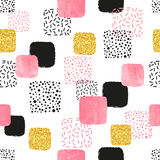 Seamless pattern with pink, black and golden squares. Royalty Free Stock Images