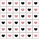 Seamless pattern of pink and black hearts. Seamless pattern of pink and black hearts which are within the squares Royalty Free Stock Images