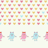 Seamless pattern of pink and blue cats. Cute cats with hearts  on white background.Seamless pattern for Valentine holiday Stock Images