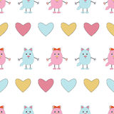 Seamless pattern of pink and blue cats. Cute cats with hearts  on white background.Seamless pattern for Valentine holiday Royalty Free Stock Photo