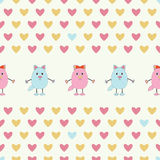 Seamless pattern of pink and blue cats. Cute cats with hearts  on white background.Seamless pattern for Valentine holiday Stock Photos