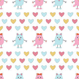 Seamless pattern of pink and blue cats. Cute cats with hearts  on white background.Seamless pattern for Valentine holiday Royalty Free Stock Photos