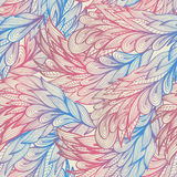 Seamless pattern with pink and blue feathers Royalty Free Stock Images
