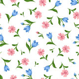 Seamless pattern with pink and blue flowers. Vector illustration. Stock Images