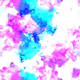 Seamless pattern of pink, blue and purple watercolor blots for background. Seamless pattern of pink, blue and purple watercolor blots on white background royalty free stock photos