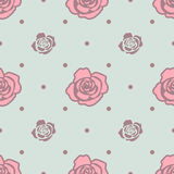 Seamless pattern with pink and blue roses on light blue background. Royalty Free Stock Photo