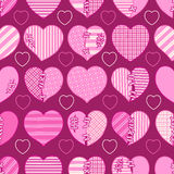 Seamless pattern of pink broken hearts for gift wrapping, congratulations, wedding invitations and Valentine`s Day Stock Image
