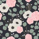 Seamless pattern with pink camellias, white anemone flowers and eucalyptus. vector illustration